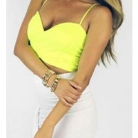 Neon Yellow Crop Wrap Over Front Adjustable Straps Stretch Top Bra Bustier