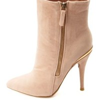 Anne Michelle Gold-Embellished High Heel Booties - Nude