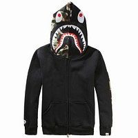 Bape 2018 men and women couples tide brand shark hoodie hooded sweater F0897-1 Black