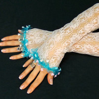 Drewina // Free Shipping, Extra Long White Gloves, Something blue, French Lace Gloves, Women's gown, Lace Fingerless Gloves, Bridal Gloves