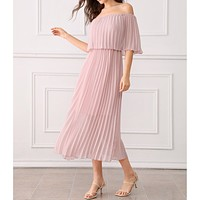 Dusty Pink Off the Shoulder Ruffle Pleated Maxi Dress