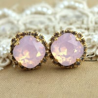 Crystal stud Opal big pink earring - 14 k plated gold post earrings real swarovski rhinestones .