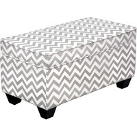 Carson Upholstered Storage Bench Ottoman - Grey and White Chevron|Meijer.com