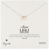 """Dogeared """"Mom"""" Large White Cultured Pearl I Love Mom Silver Pendant Necklace, 18"""""""