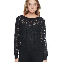 Pitch Black Corded Lace Sweat Top by Juicy Couture,