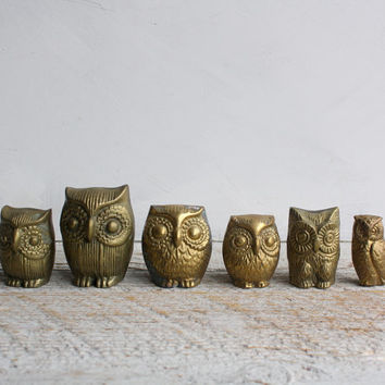 Instant Collection of Brass Owls, Six Vintage FIgurines, Sixties