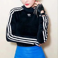 Adidas Embroidery Velvet High Collar Pullover