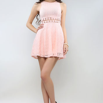 Waist Cut Out Lacy Flare Dress