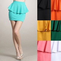 Women Banded High Waist Frill Peplum Straight Pencil A-Line Pleated Mini Skirt