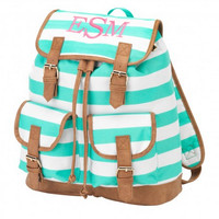 Mint Stripe Campus Backpack-Personalized