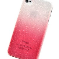 HB iPhone 5S / iPhone 5 Transparent Gradient Water drop / Raindrop Design Hard Skin Case / Cover / Shell (White and Red)