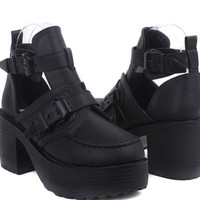 Punk Round Toe Chunky Block Heel Thick Sole Cut out Buckle Cowboy Ankle Boots 02