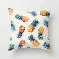 Pineapples + Crystals Throw Pillow by Micklyn