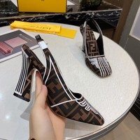 FENDI Autumn Popular Women Pointed High Heels Sandals Shoes brown