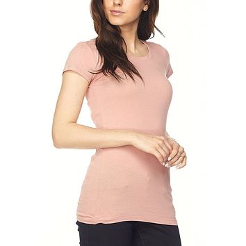 Fitted Round Neck Short Sleeve Stretchy T-shirt Top