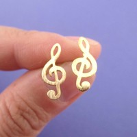 Classic Treble Shaped Stud Earrings in Gold for Music Lovers
