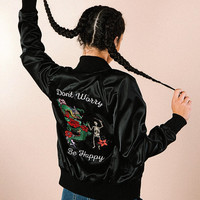 Don't Worry Satin Jacket (BLACK)