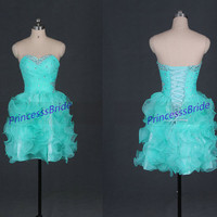 Short mint organza homecoming dress with rhinestones,chic sweetheart women gowns for cocktail party,2014 cheap prom dresses on sale.