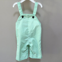 Vintage Baby Overalls, 9m Light Green Overalls Baby Romper 9m Baby Vintage Romper Snap Close Overalls 9 month infant overalls black buttons