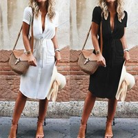 Bohemian white shirt dress beach wear long sleeve button up sexy dresses women clothing holiday pareos
