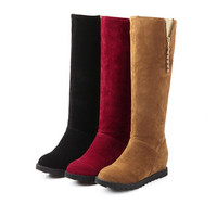 Womens Classic Sexy Knee High Wedge Boots