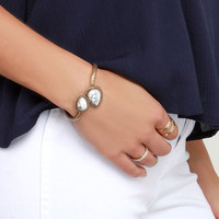 Curves You Right Gold and Ivory Bracelet