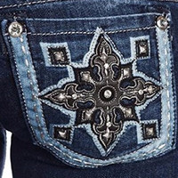 MISS ME LEATHER SPEARHEAD BOOTCUT JEANS