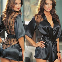 2016 New Sexy Style Europe and America women Nightdress Lace Lingerie set Satin Halter nightgown plus 5 Color and S M L XL XXL