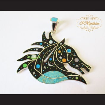 P Middleton Equine Moonstars Pendant Sterling Silver 925 with Semi-Precious Stones