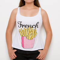 French Fries Tank Top - French Fries - French Fry - Fries - Tank Top - White - Open Back - Teen Fashion - Tumblr Shirt - Women's Clothing