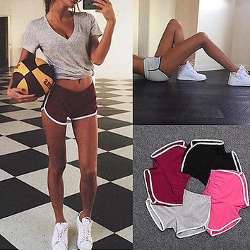 Leisure Women Sports Shorts Contrast Binding Side Split Elastic Waist Loose Casual Running Shorts Yo-Ga Short Feminino