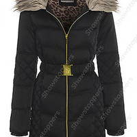 NEW PADDED Womens Faux Fur WINTER COAT Ladies Jacket Size 8 10 12 14 16 Quilted