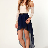 Fall for It High-Low Navy Blue Skirt