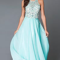 Aqua Long Beaded T-Back Illusion Bodice Prom Dress by Dave and Johnny