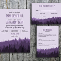 Rustic Wedding Invitation in Purple Mountains - Printable Wedding Invitation, RSVP and Guest Information Card