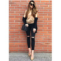 2104 New 2017 Fashion High Waist Jeans Cotton Denim Pants Stretch Womens Ripped Knee Skinny Jeans Black Ankle Jeans For Female