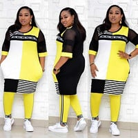 New African Clothes For Women Two Piece Sets Long Tops Skinny Pants Matching Set Mesh Patchwork Tracksuit Set Plus Size 4XL 3XL