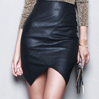 Black High Waist Asymmetric Faux Leather Skirt