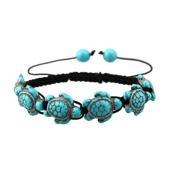 Turquoise Turtle Beaded Bracelet