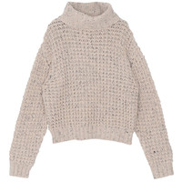 Heathered Turtle Neck Long Sleeve Pullover Sweater