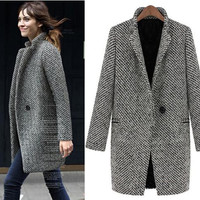 EsnaView Women Girl Woolen Trentch Overcoat Clothing Outwear Long Warm Thick Vintage Style Celebrities for Winter Christmas Gift