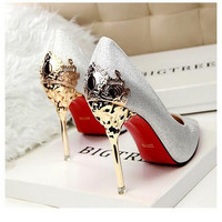 Sexy Red Bottom Sole Stiletto Pointed Toe High Heels Shoes Women Dance Mask Zapatos Tacon Mujer Masquerade