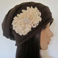 Brown Knit Slouch Beanie Winter Hat with Ivory  Chiffon Flowers and a Rhinestone Accent Winter Accessories, Hats,