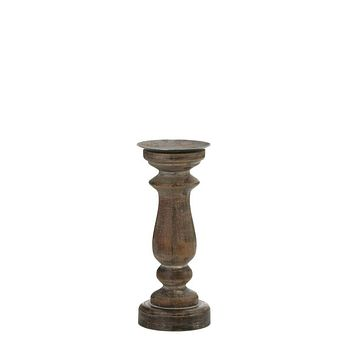 Candle Decoration Short Antique Style Wooden Candleholder