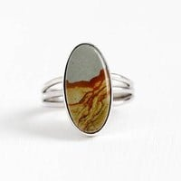 Vintage Sterling Silver Picture Jasper Ring - Size 6 1/4 Stick Pin Conversion Oval Blu