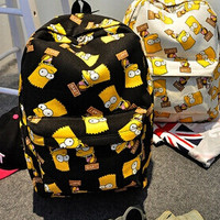 2016 Fashion Bart Simpson men's women Print backpacks canvas students outdoor school shoulder book bags mochilas vintage brand
