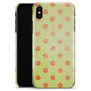 Coral Polka Dots Over Grunge Yellow - iPhone X Clipit Case