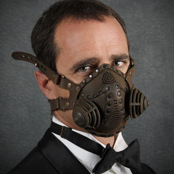 """Steampunk Gas Mask Respirator in black iron colors """"Excursionist"""""""