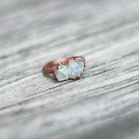Raw Crystal Ring Celestite Ring Raw Stone Ring Blue Gemstone Ring Geode Ring Blue Crystal Ring Druzy Ring Copper Ring Cocktail Ring Size 5.5