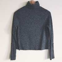 Hayley Charcoal Ribbed High Neck Sweater